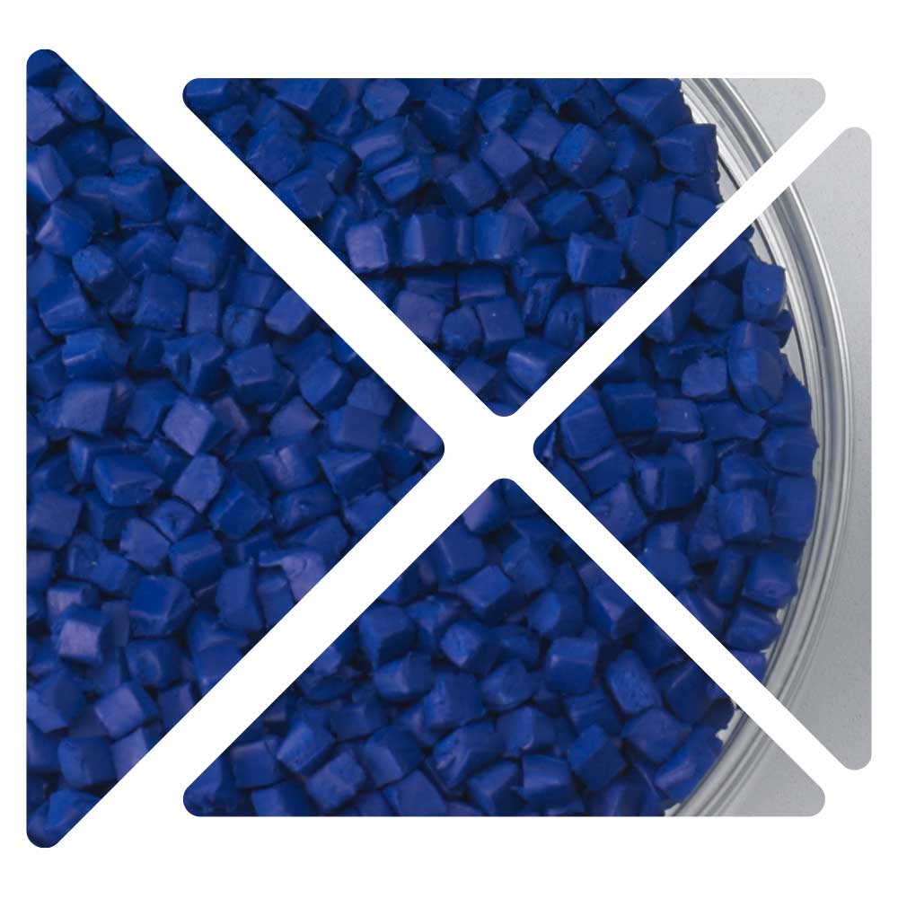 Close-up view of blue polymer extrusion materials